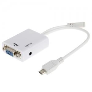 Cabo Adaptador Micro USB VGA + Cabo Audio Samsung i9100 / i9220 / i9250