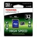 CARTÃO TOSHIBA MICRO SD 32GB CLASS 10 ALTA CAPACIDADE COM ADAPTADOR SD