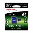 CARTÃO TOSHIBA MICRO SD 64GB CLASS 10 UHS-I ALTA CAPACIDADE COM ADAPTADOR SD BLISTER